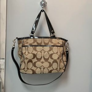 Brown Coach Purse with Black Handles and Strap